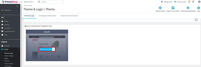 install new theme on PrestaShop themes webibazaar