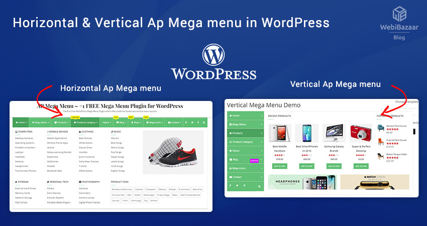 Horizontal & Vertical Ap Mega menu in WordPress