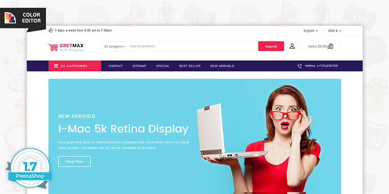 GrayMax – Best Multi Shopping PrestaShop Theme and Templates