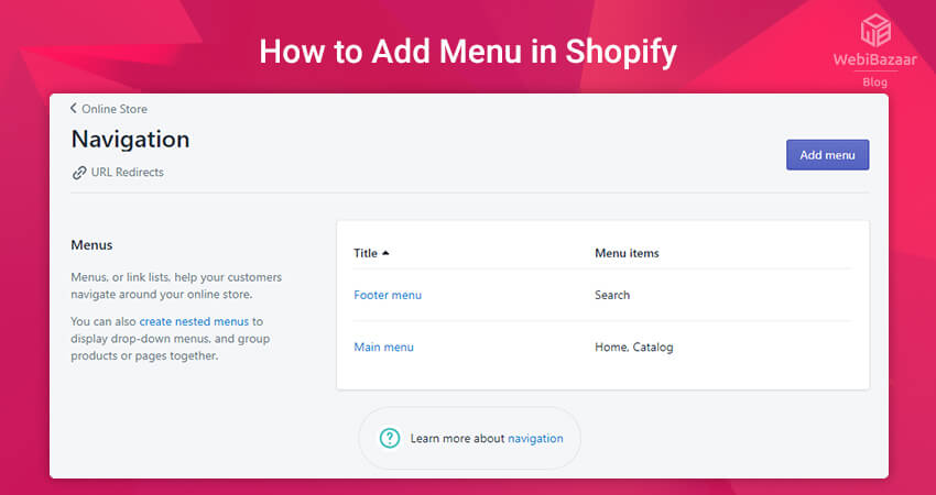 Add Menu In Shopify