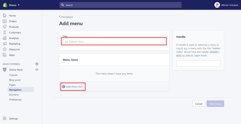 How to Add Menu in Shopify