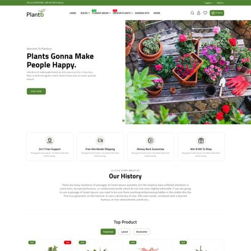 PlantB - Gardening, HomeDecor & Houseplants Store Template