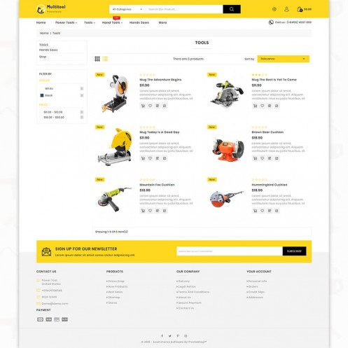 Multitool OpenCart 3 - Special Power Tools OpenCart Theme
