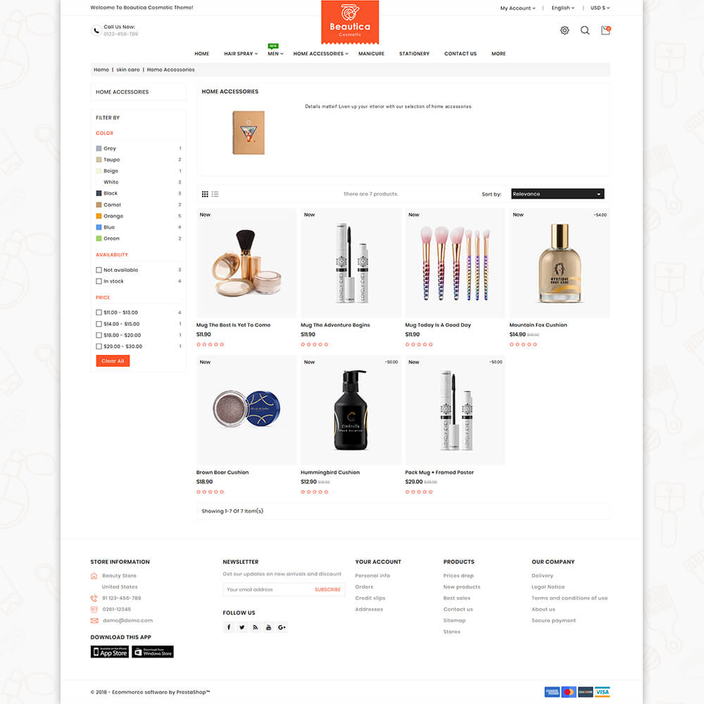 Beautica - The Cosmetic Store Template