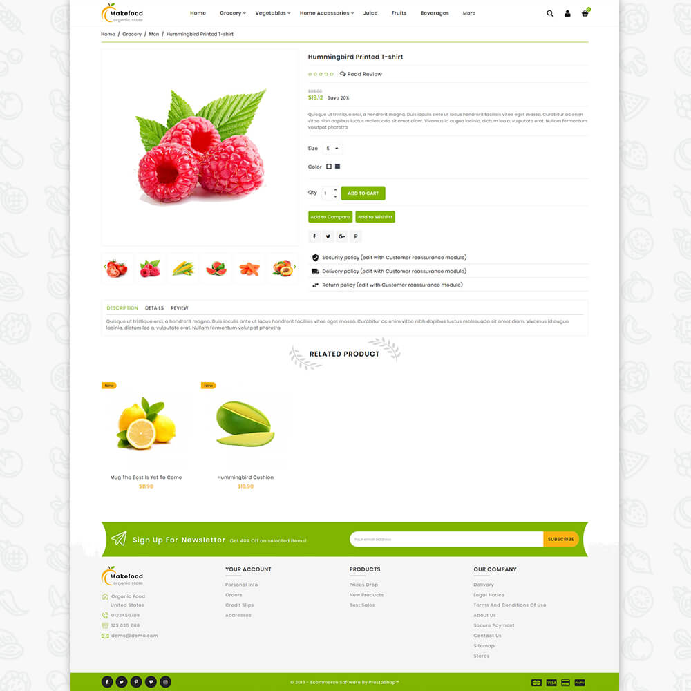 MakeFood - The Oragnic Store Template